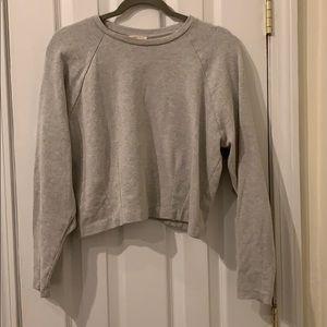 Zara gray ruffle trim cropped sweatshirt